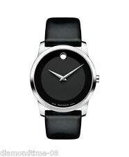 NEW MOVADO MUSEUM CLASSIC BLACK LEATHER STRAP MEN'S WATCH 0606502