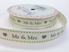 "5m Bertie's Bows Grey ""Mr & Mrs"" on Ivory 16mm Grosgrain Ribbon Wedding Giftwrap"
