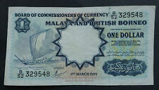 Malaya and British Borneo One Dollar Banknote 1st March 1959 B/52 329548