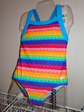 NWT Speedo® Girls Toddler Kid Sz 14 Blue Neon Rainbow Hearts Swimsuit