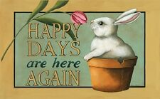 Country Cottage Chic HAPPY DAYS ARE HERE Spring Bunny Floor Mat Rug No Skid USA