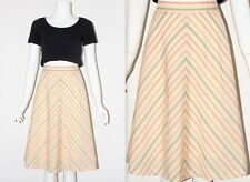 Vintage 1980's COTTON Yellow Green Red STRIPED HIGH WAISTED A-LINE MIDI Skirt M