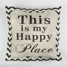 Quirky This is my Happy Place Cushion  in Black  White & Blue with Chevrons