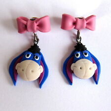 Bow Eeyore Winnie the Pooh Donkey Animal Character Toy Disney Earrings Gift Idea