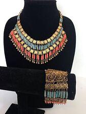 VTG Gypsy Bohemian Fringe Necklace Bracelet Boho Turkish Orange Turquoise