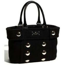 EC Kate Spade FOX CHAPEL Handbag Black Wool Felt Gold Buttons