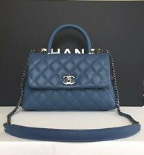 NIB 2017 Chanel BLUE COCO HANDLE Caviar MINI Kelly Classic Bag with Receipt RARE