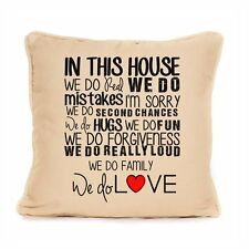 Home Family Pillow Cushion Gift We Do In House Inspirational Motivational Quote