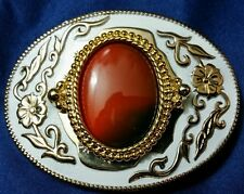 White Enamel on Metal Gold Accent Ruby Red Oval Stone Cowboy Belt Buckle