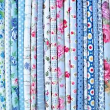 BLUE - BIG BUNDLE NEW 100% COTTON FLORAL FABRIC MATERIAL REMNANTS OFFCUTS