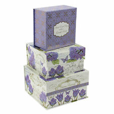 SET OF 3 FRENCH CHATEAU PURPLE FLOWER & BUTTERFLY DESIGN STORAGE BOXES.NEW.