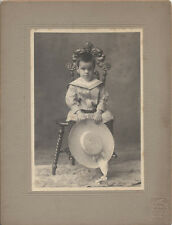 ADORABLE PORTRAIT OF YOUNG BOY W/ LARGE HAT ON FUR RUG - CLEVELAND, OH