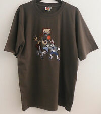 LOONEY TUNES WARNER BROS. EMBROIDERED T-SHIRT ARMY GREEN MEN'S SIZE XL