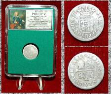 COIN KING SPAIN PHILIP V COAT OF ARMS THE BOURBONS CASLE-LION SILVER 1/2 REAL