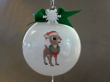 "Handmade Rudolph The Red-Nosed Reindeer ""Rudolph"" 3"" Round Glass Ornament, NEW!"
