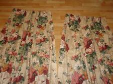 "1 Pr. Custom Cotton/Linen Floral French Pleated Lined Drapes 46"" x 82"""