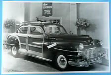 "12 By 18"" Black & White Picture 1947 Chrysler Imperial 4 Dr. Airport Woody Sedan"