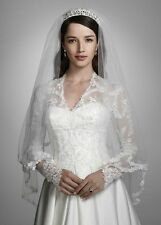 DAVID'S DAVIDS BRIDAL VEIL V158 IVORY FINGERTIP LACE 2 TIER NWT FLORAL LACE EDGE