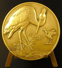 Medaille Le Héron qui pêche sc Jean Vernon c1940 animal Heron who fishes Medal