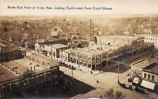 RPPC Birds Eye View of York, NE from Court House Nebraska Postcard ca 1910s
