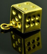 18k solid  yellow gold hollow dice pendant    h3jewels 2.10 grams
