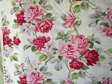 """LAURA ASHLEY LIGHT WEIGHT FURNISHING"""" LINEN LOOK"""" COTTON IN PINK ROSE DESIGN"""