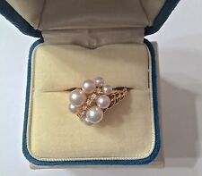 Mikimoto Graduated Cluster Pearls & Diamond Ring, 18K Gold - Size 6