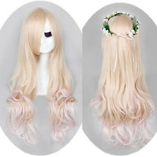 Lolita Blonde Pink Mix Gradient Long Hair Wavy Curly Full Wig Womens Cosplay Wig
