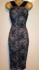 Black Nude Contrast Floral Crochet Lace Bodycon Midi Evening Party Dress Size 14