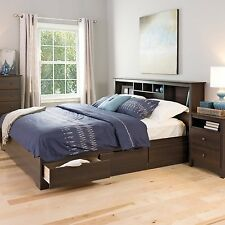 Platform Storage Bed King Size Drawers Frame Bookcase Headboard Modern Wood New