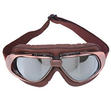 Vintage Aviator Pilot Leather+PC Glasses Motorcycle Scooter Bike Sport Goggles