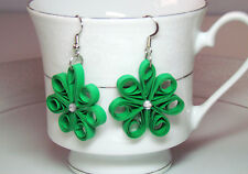 St Patrick's day green Clover earring, flower paper quilling earring by yjmai