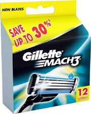 Gillette Mach 3 Cartridges 12 Razor Blades Shaving (1 Set of 12) Genuine Mach3