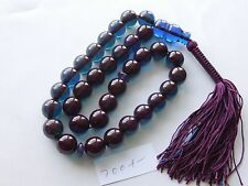 "GERMAN TRANSPARENT BLUE 33 BEADS AMBER BAKELITE CATALIN TASBIH, 10""LONG, 60 Grm"
