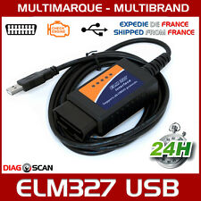 Interface diagnostic multimarque ELM327 USB V1.5 puce FTDI chip OBDII ELM 327 HQ