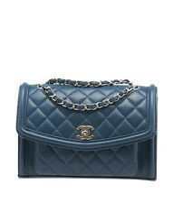 Chanel A94778 Blue Quilted Lambskin Leather Shoulder Bag