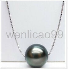 AAA+ 11-12MM TAHITIAN BLACK PEARL PENDANT NECKLACE 925 silver