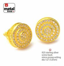 Hip Hop 925 Silver 14k Gold Plated Round Screw Back Stud Micro Pave Earring 454G