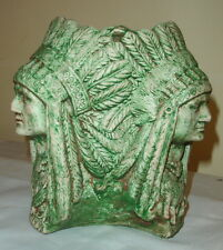 """3 Headed 8"""" American Indian Native Style Chief Headdress Urn Vase Sculpture"""
