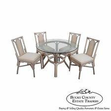 Rattan Bamboo Round Glass Top Dining Table & 4 Chair Set