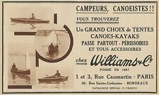 Y8836 Canoes WILLIAMS - Pubblicità d'epoca - 1936 Old advertising