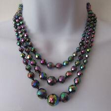 Elegante Estilo Vintage 3 Strand Negro Aurora boreal Facetado Collar de Abalorios de vidrio
