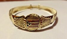 10K Solid Yellow Gold Puerto Rico Flag Baby Bangle Sliding Bracelet Rican Pride