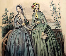 LE FOLLET 1845 Hand-Colored Fashion Plate #1278 Blue & Green Dresses ORIG. PRINT