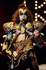 "12""*8"" concert photo of Gene Simmons of Kiss playing at Wembley in 1980"