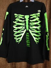 Boy halloween XL 14 skeleton bones black shirt green glow in dark bones  cotton