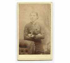 CDV PORTRAIT OF YOUNG LADY W/ ARMS CROSSED BY CAMPBELL, DETROIT, MICHIGAN