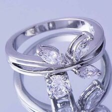 Womens 14K White Gold Filled Clear Crystal Leaf Butterfly Pinky Ring Size 5