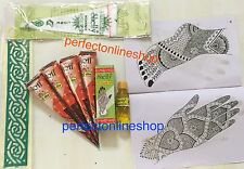 5 Natutal Henna Cone With Henna Oil Stencil Book Instant Hina KIT brown Henna