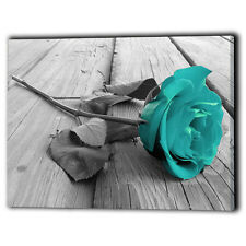 Teal Rose Canvas Framed Panel Flower Love - Wall Art Print Gifts - Ready To Hang